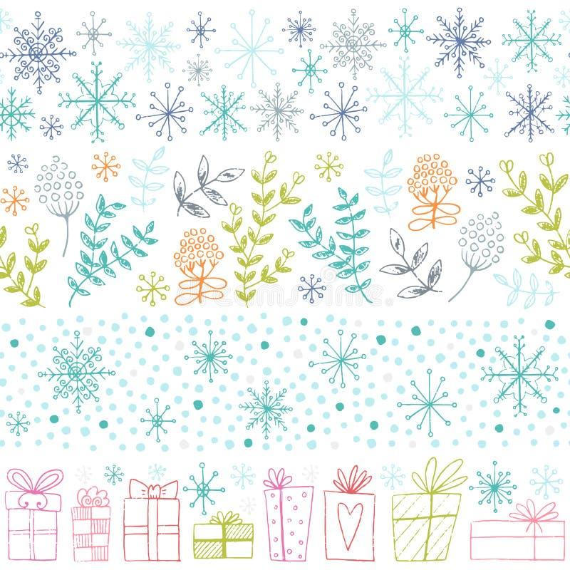 Собрание границ зимы нарисованное рукой безшовное бесплатная иллюстрация
