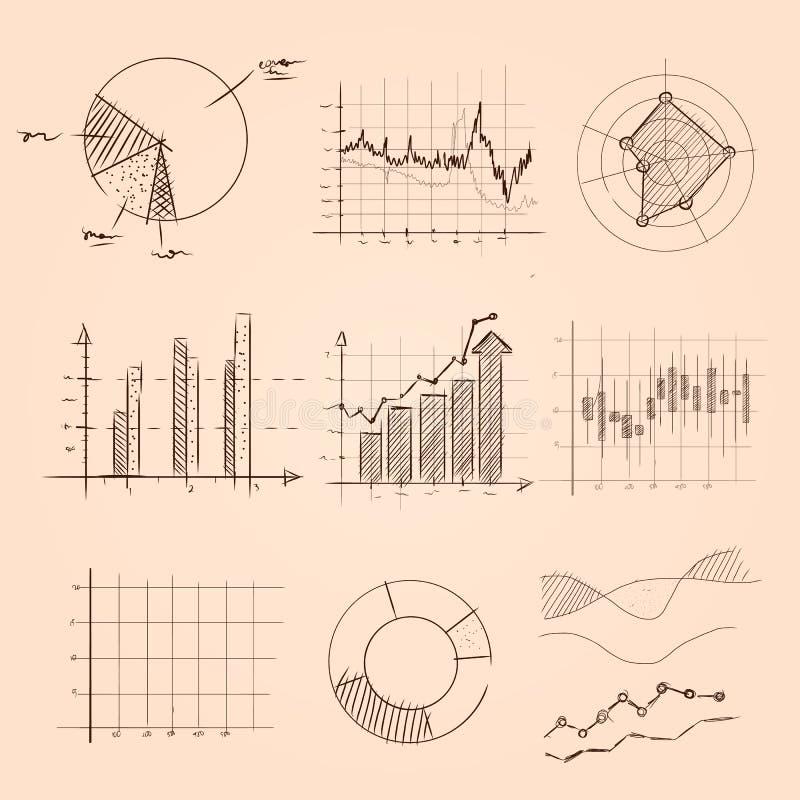 Собрание графика и диаграммы вручает эскиз чертежа пирога, бара, и другого вида данных по статистик бесплатная иллюстрация