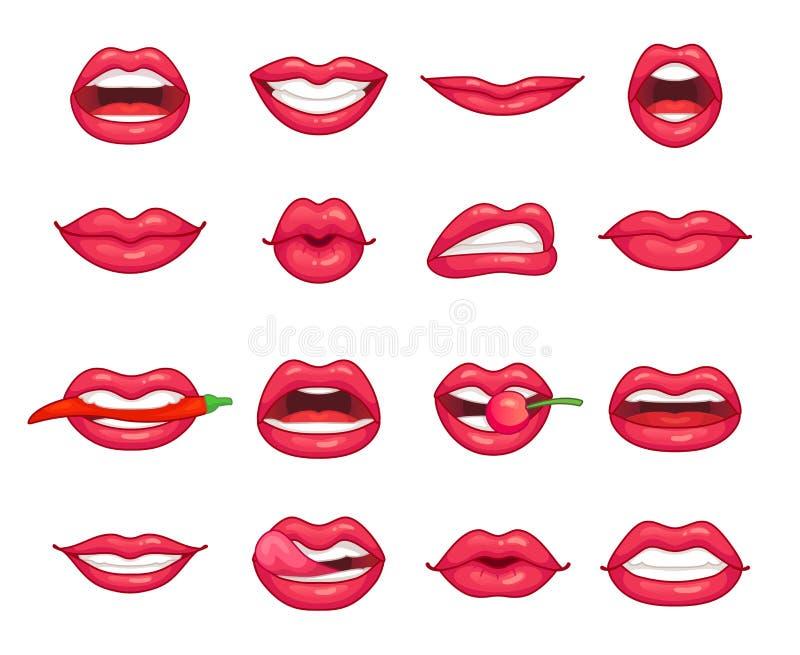 Собрание губ Красивая девушка усмехаясь, губа целуя, сдерживая перец, вишня и с губной помадой Поцелуй красоты шаржа бесплатная иллюстрация
