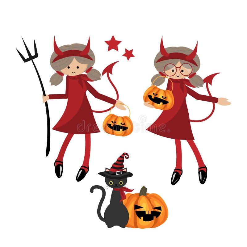 Собрание девушки дьяволов хеллоуина маленькое бесплатная иллюстрация