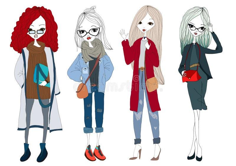 Собрание девушки моды при 4 красивых стильных девушки нося ультрамодные одежды Изолированная иллюстрация фотомодели установленная иллюстрация вектора