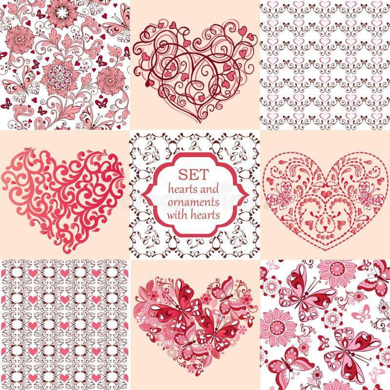 Собрание декоративных сердец и флористических орнаментов с сердцами иллюстрация штока