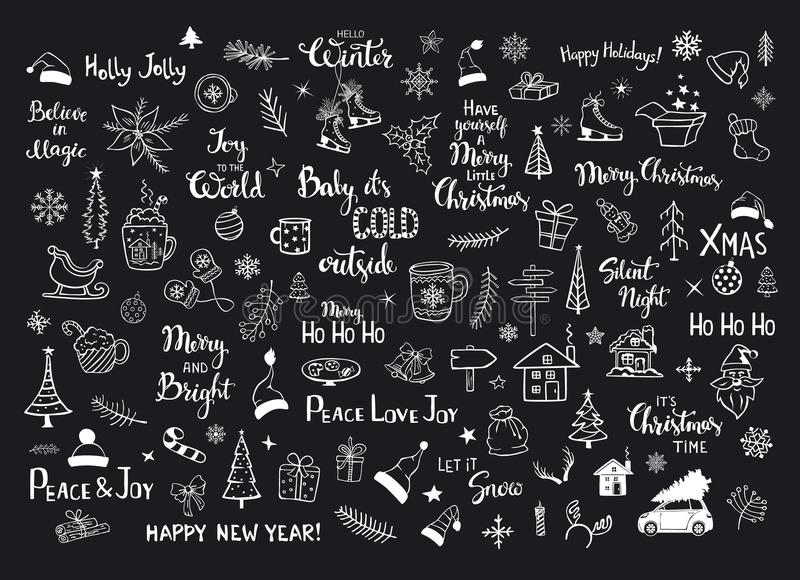 Собрание деталей украшения Новых Годов рождества doodles, деревья xmas, шляпы santa, подарочная коробка, снежинки, хворостины, ве иллюстрация вектора