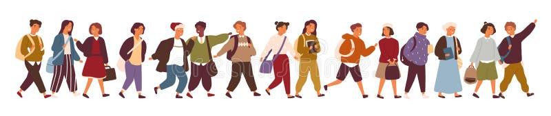 Собрание детей, зрачков или студентов идя к элементарному или средней школе Пачка детей идя вниз с улицы иллюстрация штока