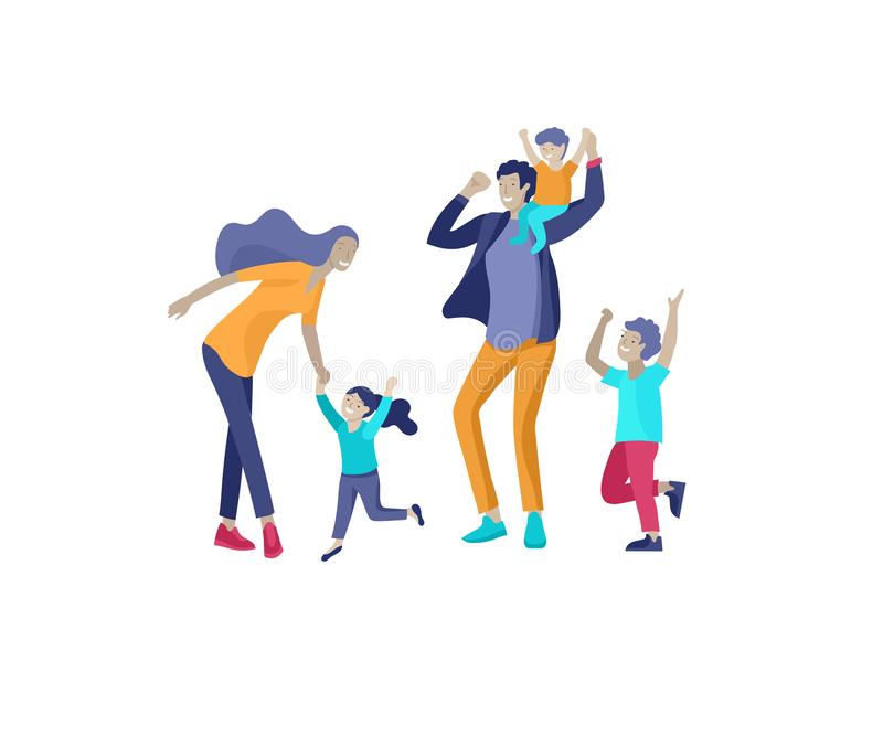 Собрание деятельностей при хобби семьи Счастливые мать, отец и дети dansing и скача совместно Вектор мультфильма иллюстрация вектора