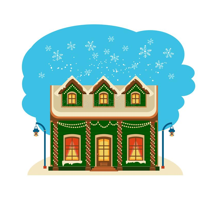 Собрание дома зимы один из комплекта бесплатная иллюстрация