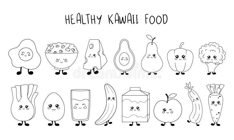 Собрание еды Kawaii иллюстрация вектора