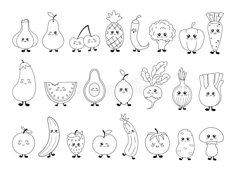 Собрание еды Kawaii иллюстрация штока