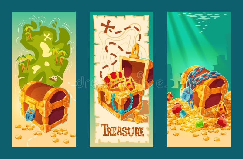 Собрание деревянных комодов с сокровищами на предпосылке карты сокровища и на морском дне иллюстрация вектора