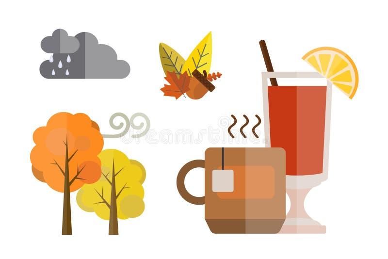 Собрание деталей осени установленных жолудь падения выходит холоду дождевых облако дерева красным вино цветов желтого цвета обдум бесплатная иллюстрация