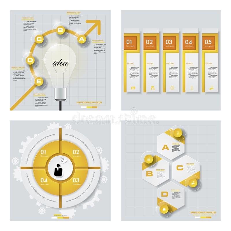 Собрание 4 желтых планов шаблона/графика или вебсайта цвета Предпосылка вектора бесплатная иллюстрация