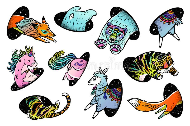 Собрание животных в волшебстве teleport Иллюстрация руки фантазии вычерченная иллюстрация штока