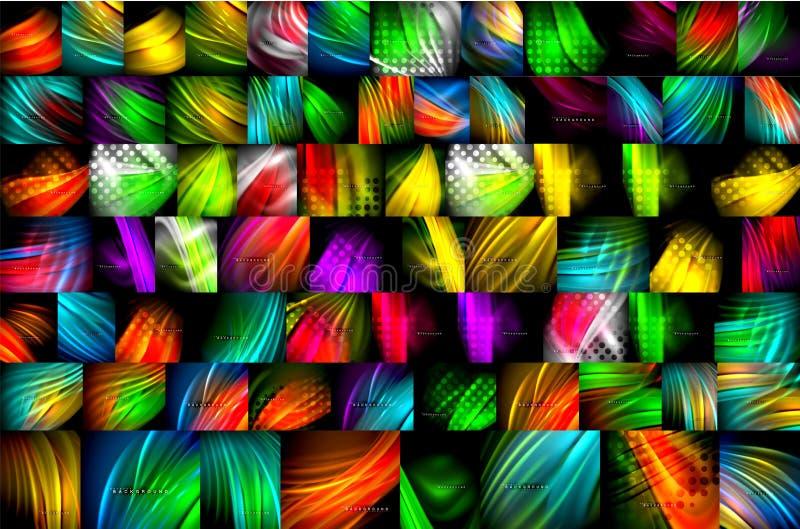 Собрание жидкой предпосылки конспекта подачи цвета мега, современные красочные пропуская дизайны, жидкость развевает на черноте иллюстрация штока