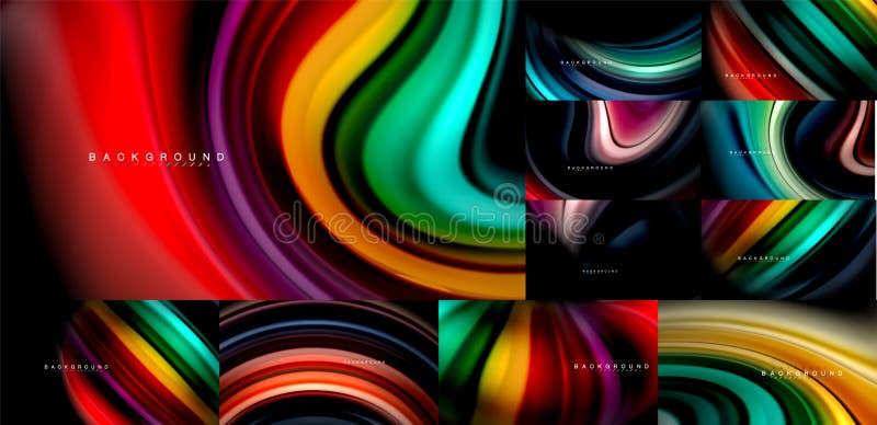 Собрание жидкой предпосылки конспекта подачи цвета мега, современные красочные пропуская дизайны, жидкость развевает на черноте иллюстрация вектора