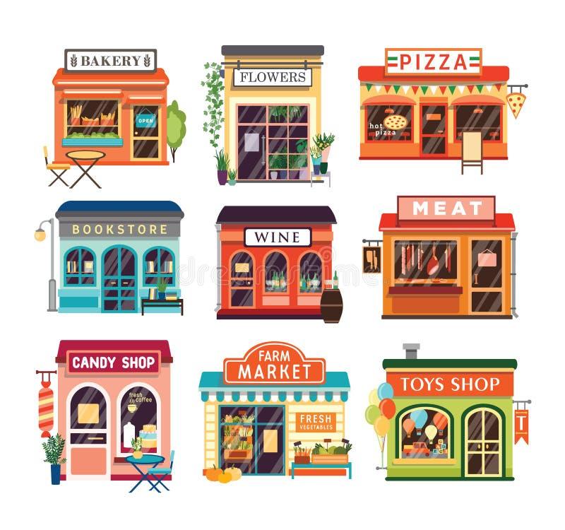 Собрание зданий магазина изолированных на белой предпосылке Испеченный продавать магазинов и сельскохозяйственные продукты, пицца иллюстрация штока