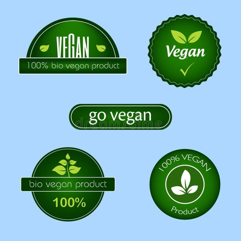 Собрание зеленых ярлыков и значков еды vegan иллюстрация штока