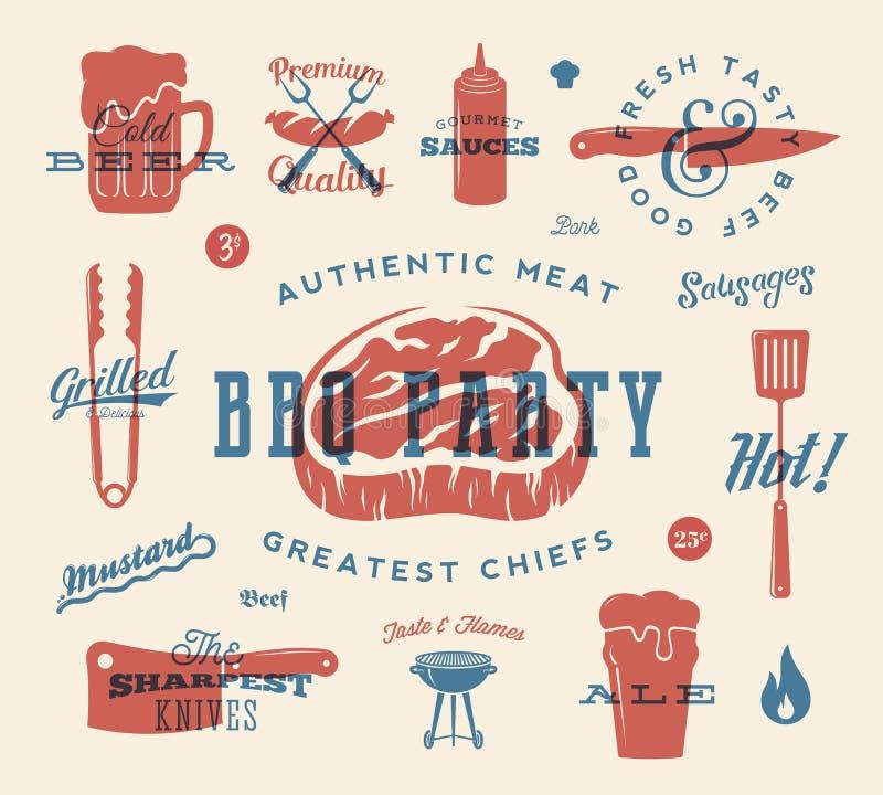 Собрание знаков и значков вектора партии барбекю ретро Символы мяса и пива с картиной оформления Стейк, сосиска иллюстрация штока