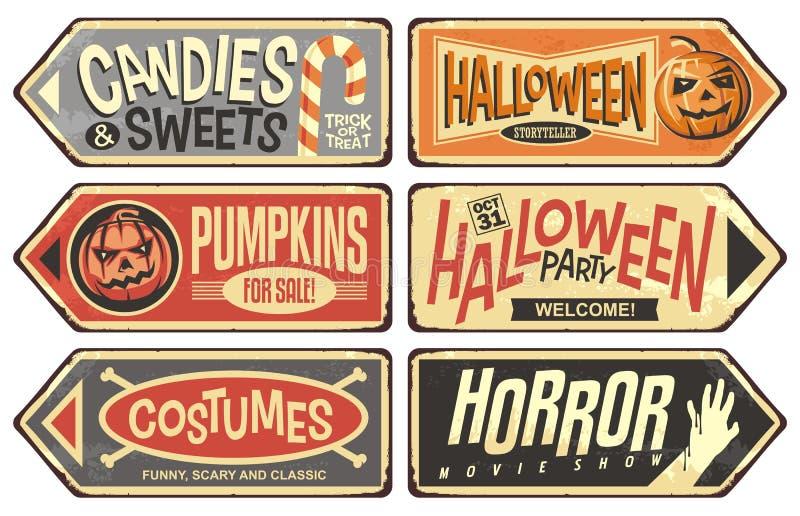 Собрание знаков событий хеллоуина ретро иллюстрация штока