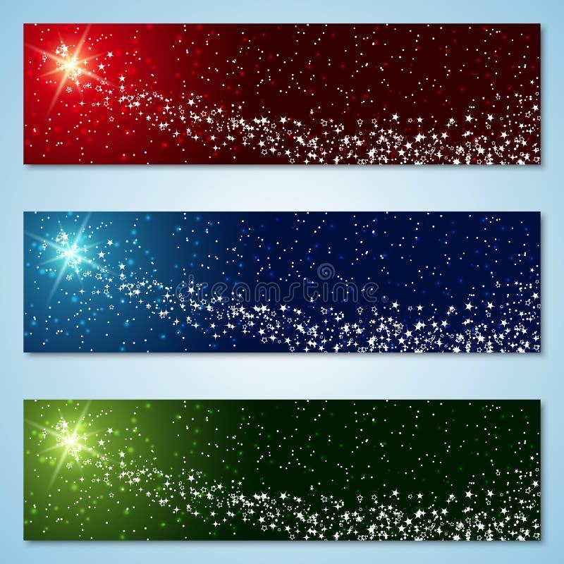 Собрание знамен вектора рождества и Нового Года красочное иллюстрация штока