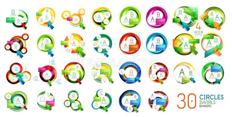 Собрание знамен круга современных геометрических с текстом, вариантами и кнопками иллюстрация вектора