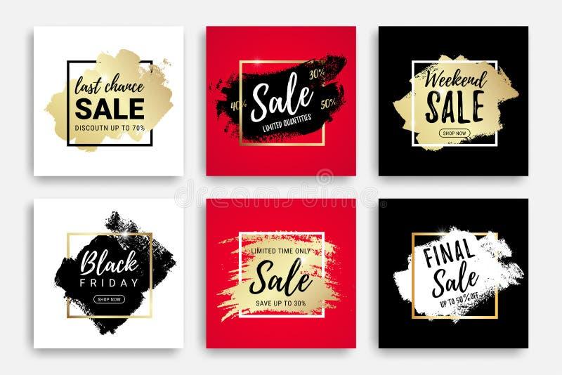 Собрание знамен продажи с brushstroke, рамкой бесплатная иллюстрация