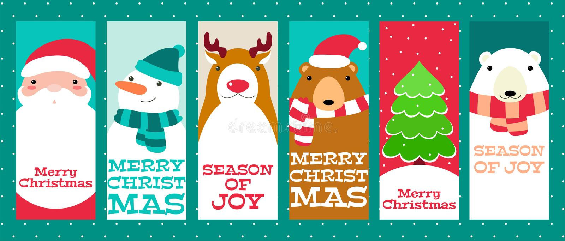 Собрание знамен рождества с милыми животными и Сантой Clau бесплатная иллюстрация