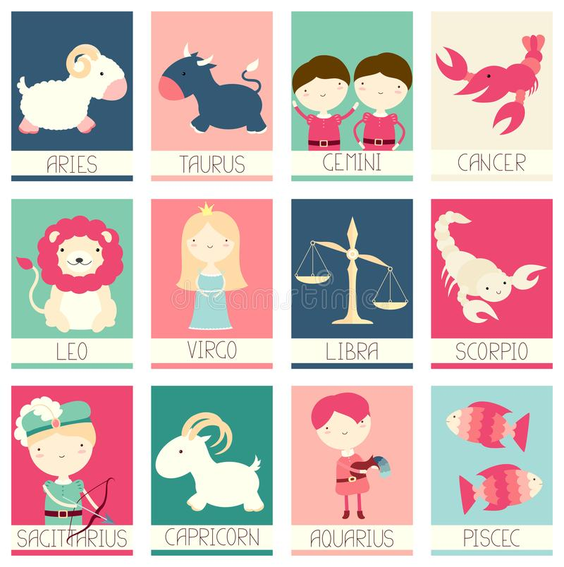 Собрание знамен с милыми характерами зодиака иллюстрация штока