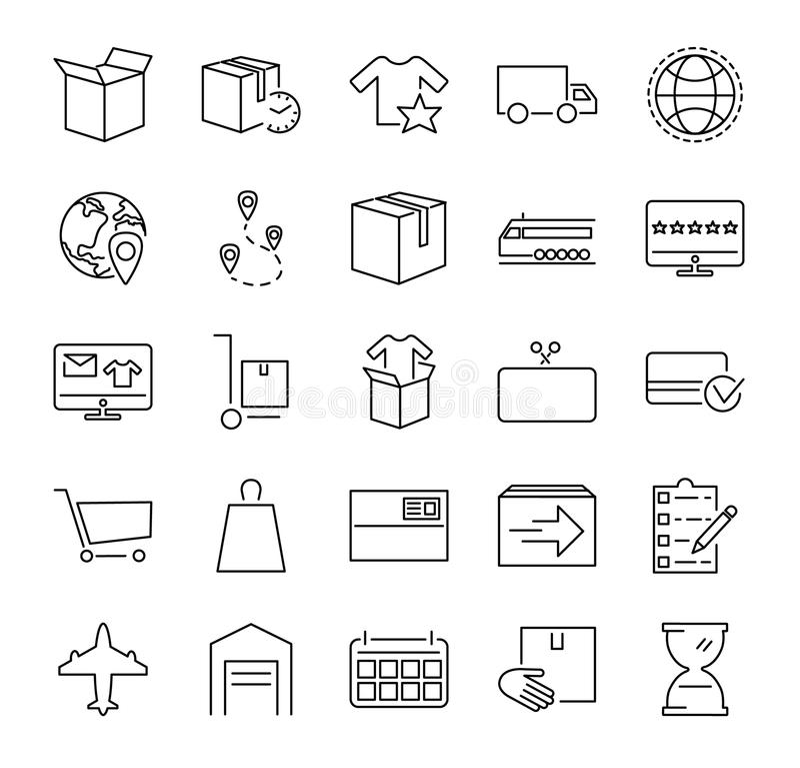 Собрание значка иллюстрации вектора выполнения заказа Законспектированные pictorgrams о онлайн покупках, обслуживании поставки и  иллюстрация вектора
