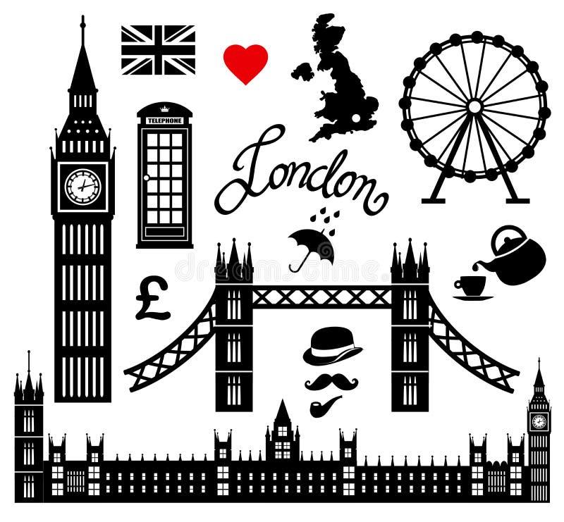 Собрание значка Лондона установленное иллюстрация штока
