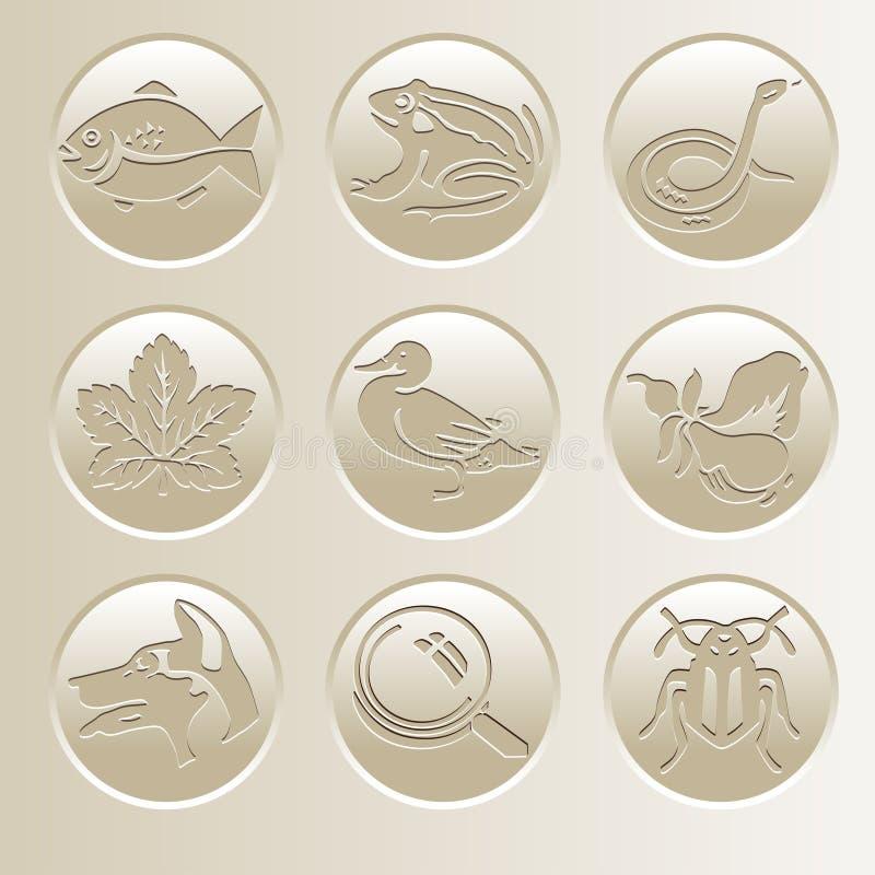Собрание значка природы Значки с рыбой, лягушкой, змейкой, уткой, собакой, жуком, лист, лупой, грушей иллюстрация штока