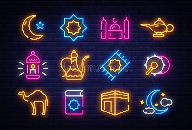 Собрание значка Рамазан Kareem в неоновом стиле Элементы дизайна, светлое знамя, неоновый шаблон поздравительной открытки Месяц  иллюстрация вектора