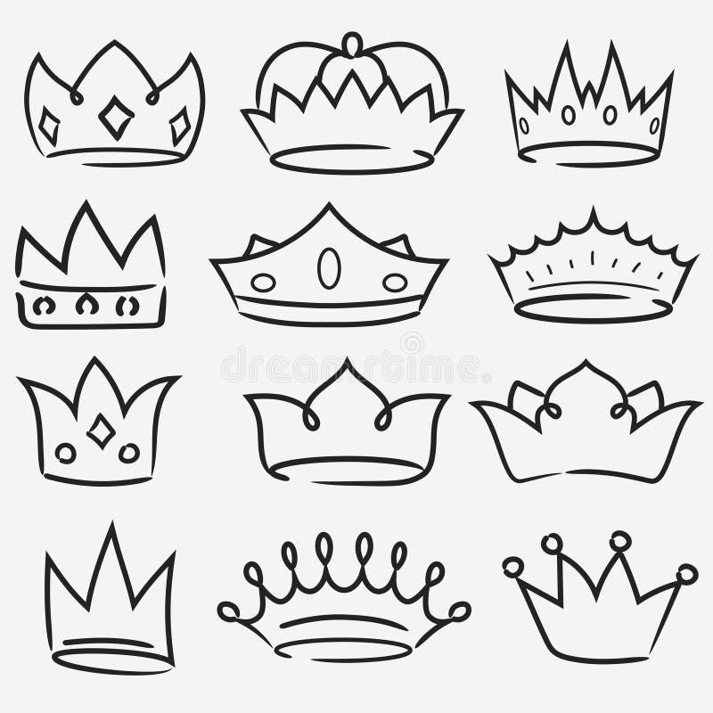 Собрание значка руки кроны вычерченное Королевский вектор символа diadem бесплатная иллюстрация