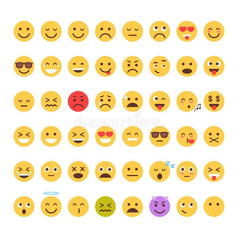 Собрание значка эмоции желтых людей Emoji стороны шаржа установленных различное иллюстрация штока