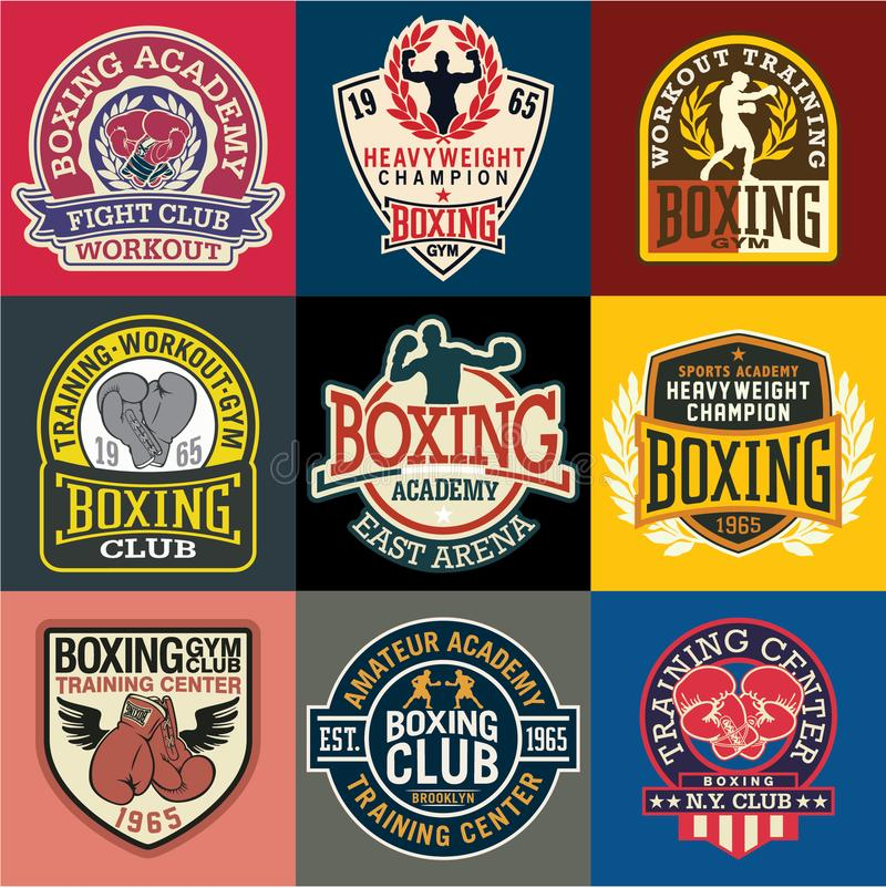 Собрание значков и символов академии бокса иллюстрация вектора