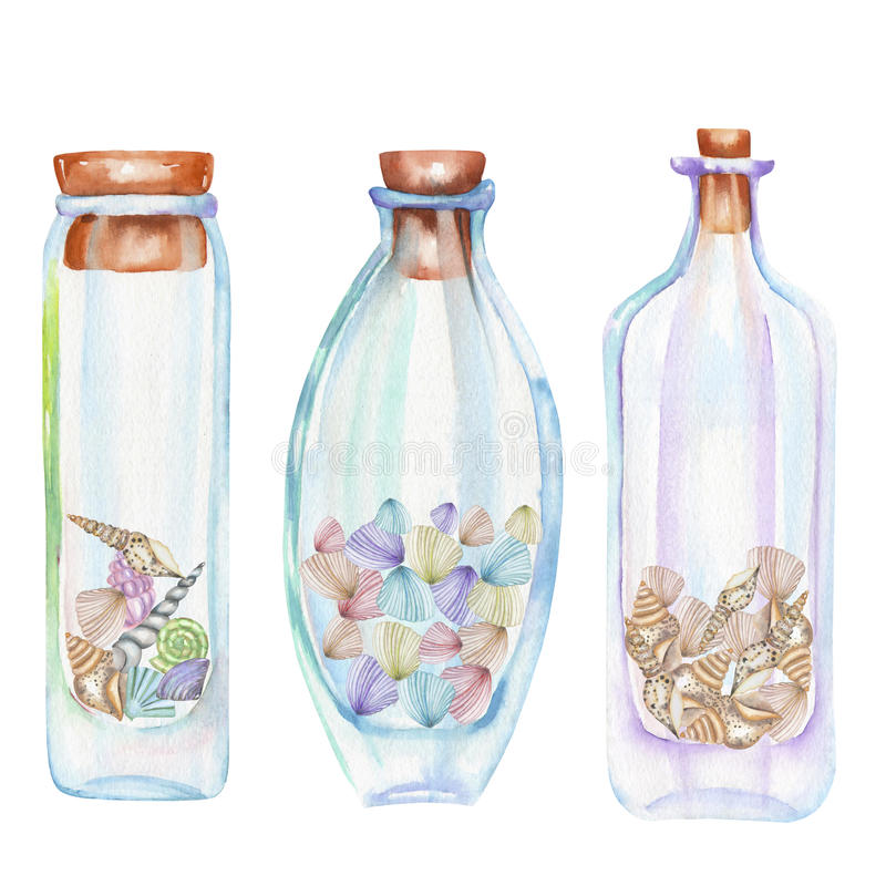 Собрание значков, комплект бутылок романтичных и сказки акварели с раковинами моря внутрь иллюстрация штока