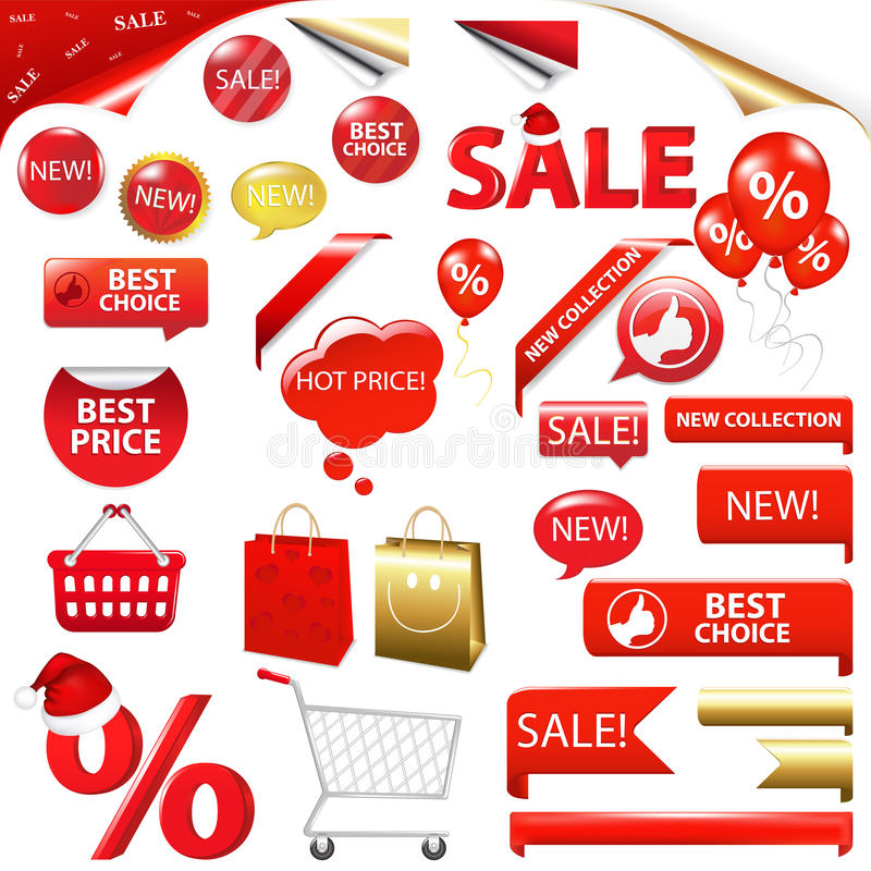 собрание значков продавая вектор иллюстрация вектора