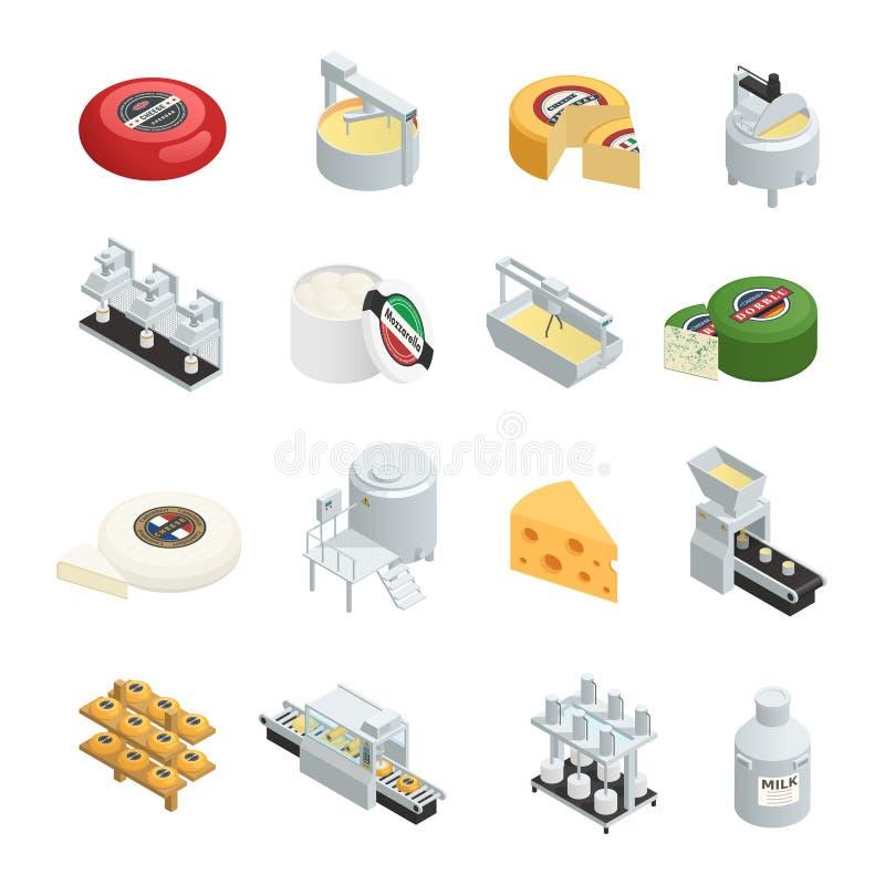 Собрание значков продукции сыра равновеликое бесплатная иллюстрация