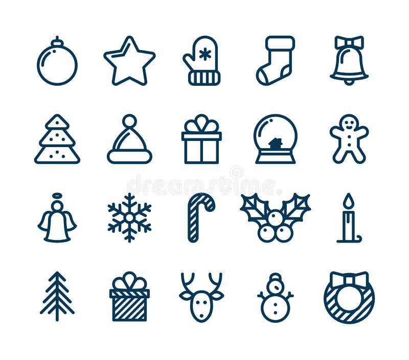 Собрание значков рождества и зимы - вектор бесплатная иллюстрация