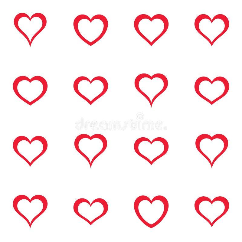 Собрание значков сердца вектора простое красное иллюстрация вектора