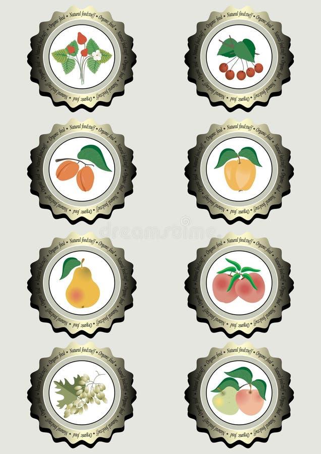 Собрание значков с плодоовощами иллюстрация вектора