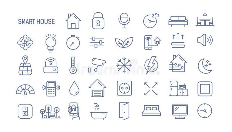 Собрание значков умного дома линейных - управление освещения, топления, кондиционера Комплект домашней автоматизации и иллюстрация штока