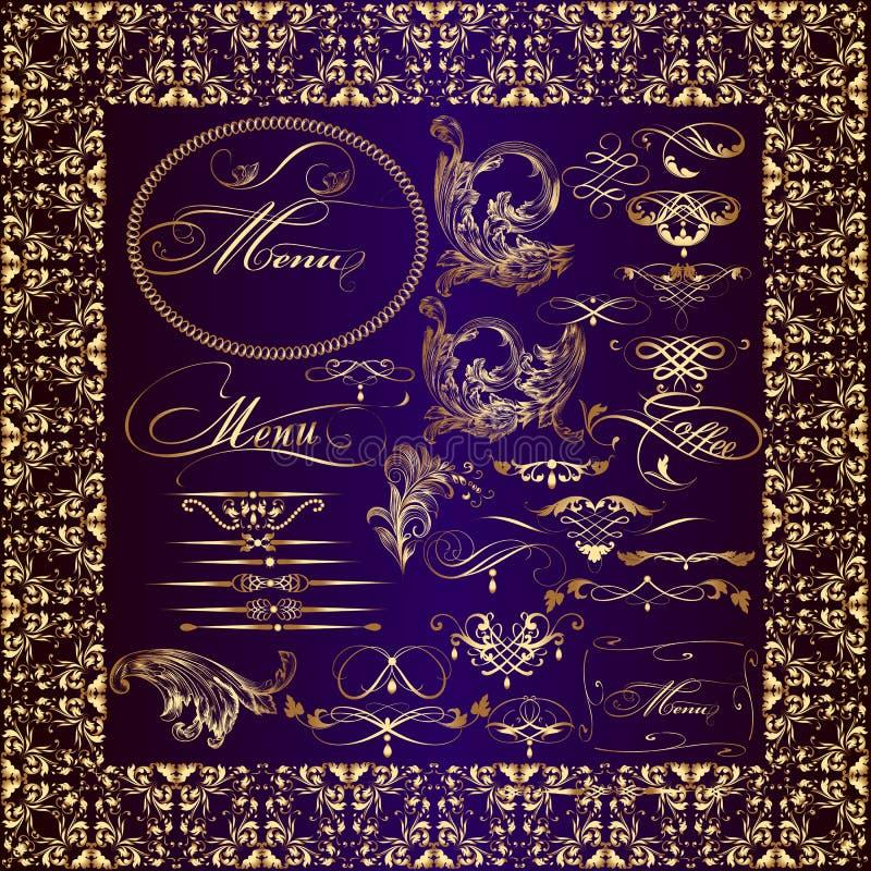 Собрание золотых каллиграфических элементов иллюстрация штока