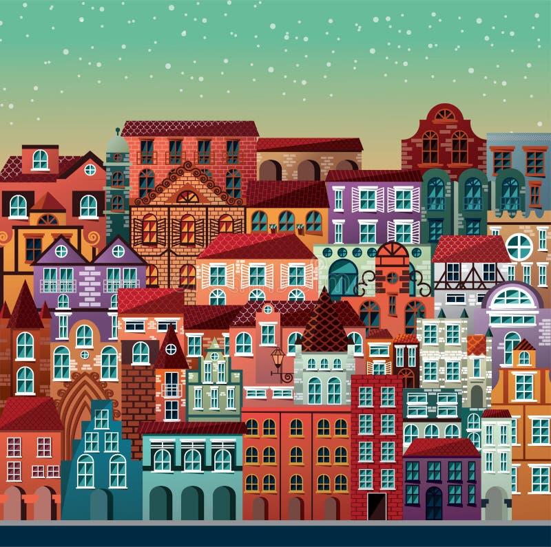 Собрание зданий и домов, старой архитектуры, городской scen бесплатная иллюстрация