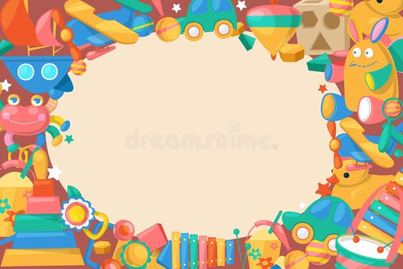 Собрание игрушки для иллюстрации вектора знамени предпосылки младенцев большой Милые объекты для небольших детей, который нужно с иллюстрация вектора