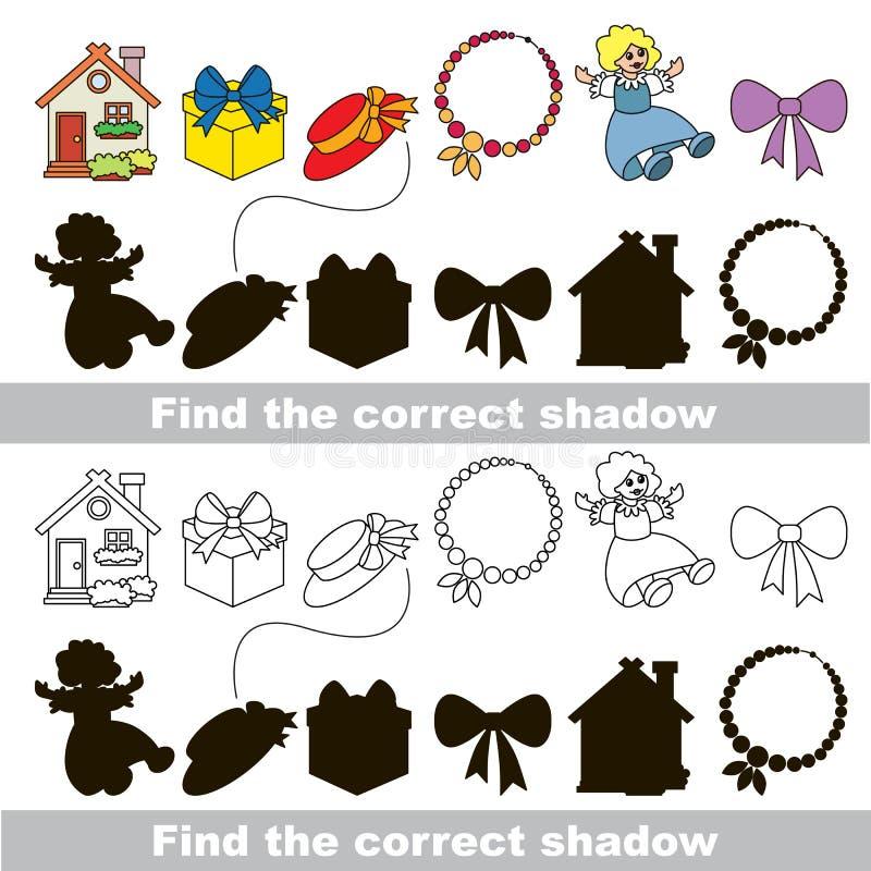 Собрание игрушки девушки Найдите правильная тень иллюстрация штока