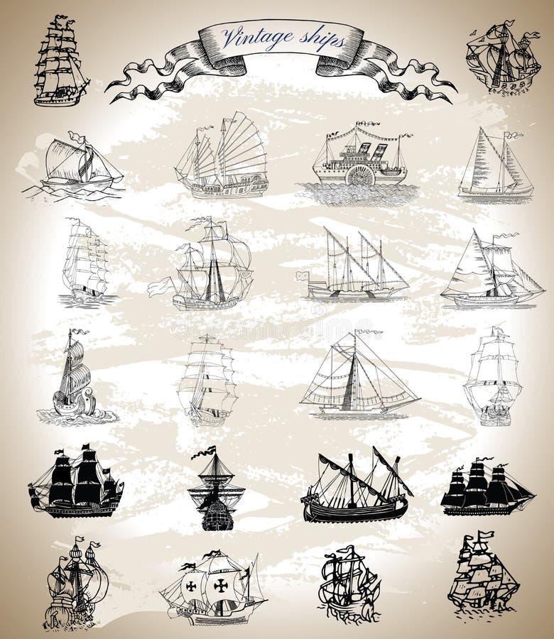Собрание дизайна с винтажными кораблями, парусниками и сосудами иллюстрация штока