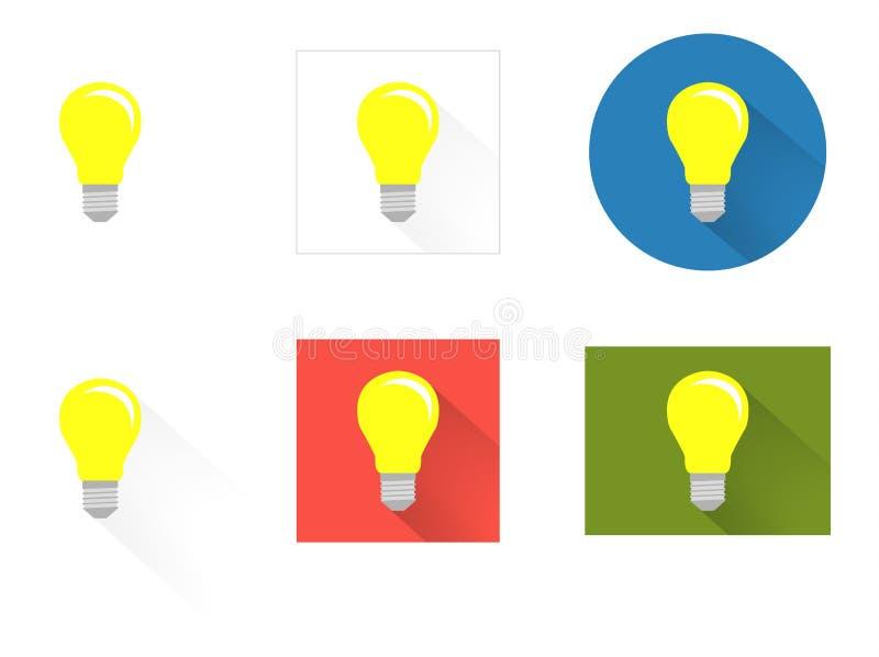 Собрание 6 изолировало значки плоской лампочки иллюстрация вектора