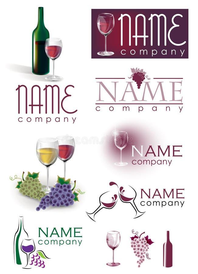 Комплект логоса виноградин стекла вина стоковые изображения