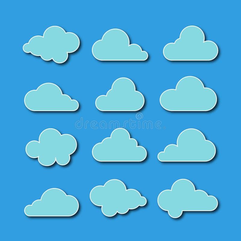 Собрание икон облака также вектор иллюстрации притяжки corel стоковая фотография