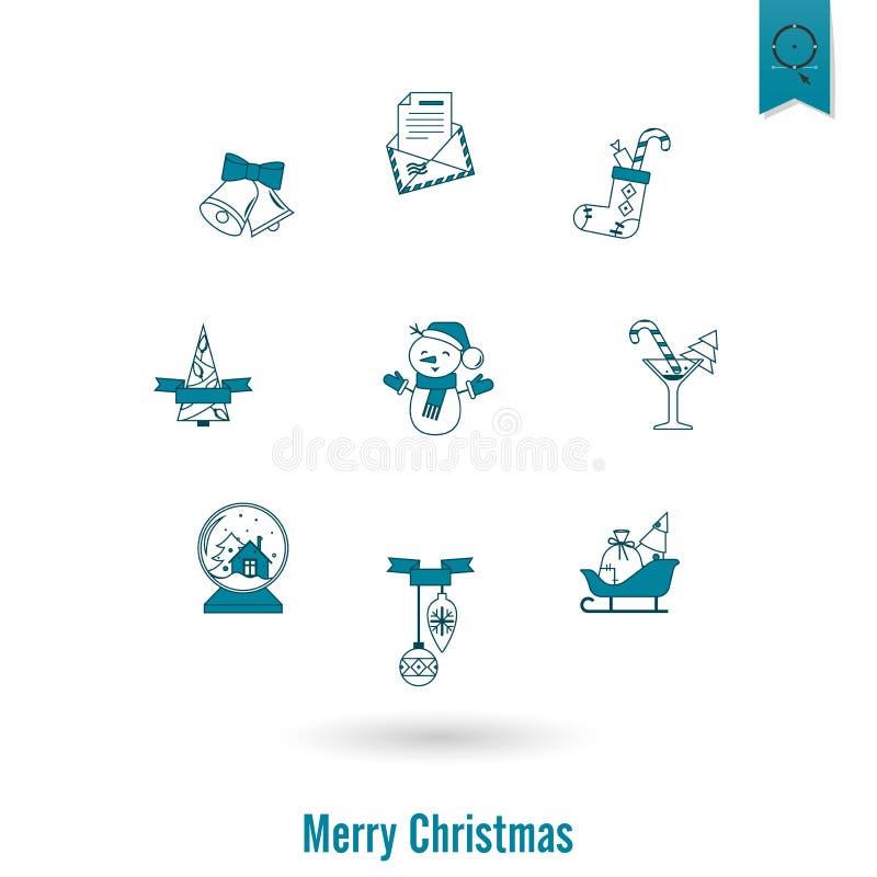 Собрание икон рождества и зимы иллюстрация штока